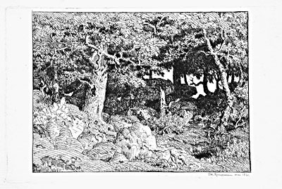 Rousseau Print: Oak Trees in the Rocks