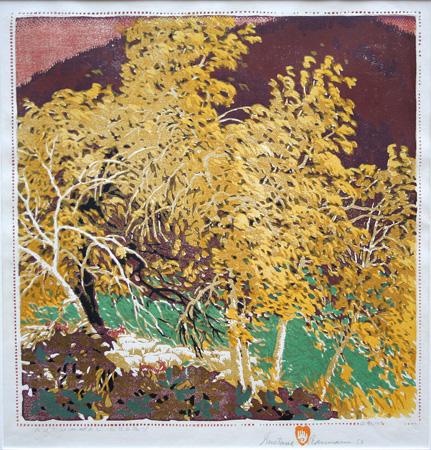 Gustave Baumann color woodcut: Autumnal Glory.