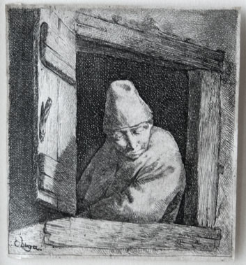 Cornelis Bega etching: The Peasant at a Window.