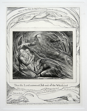 "William Blake: Plate 13, ""Then the Lord answered Job out of the Whirlwind."" Engraving from complete set of illustrations to the Book of Job."