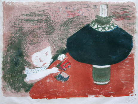 Pierre Bonnard lithograph: L'enfant a la lampe (Child with a lamp).