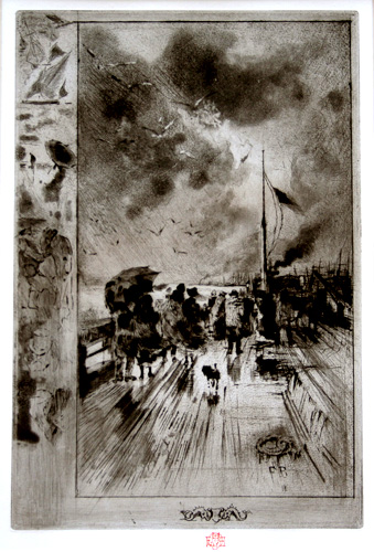 Une jetee en angleterre (A Pier in England). Etching, drypoint, roulette, and aquatint.