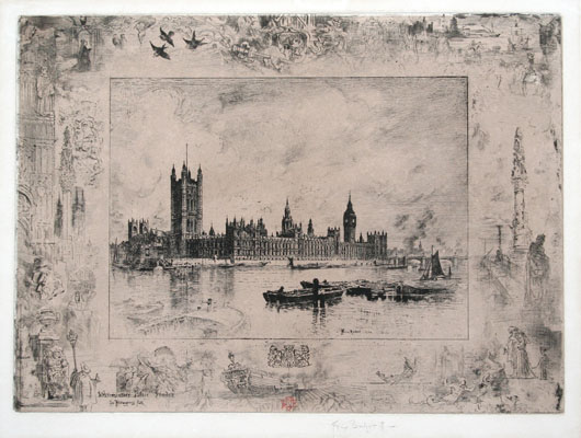 Felix Buhot etching and drypoint: Westminster Palace, London.