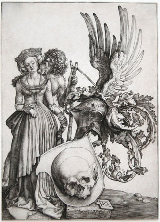 Albrecht Durer engraving: Coat of Arms with a Skull.