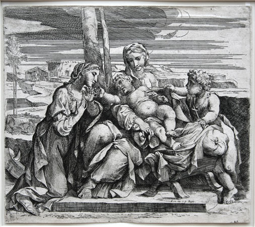 Jacques Friquet etching: The Virgin and Child with St. John and St. Catherine.