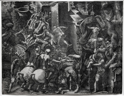 Giorgio Ghisi engraving: The Fall of Troy and the Escape of Aeneas.
