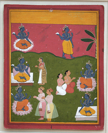 Indian miniature painting: Scenes with orship of Vishnu.