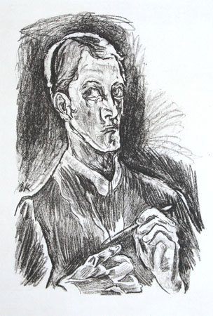 Oskar Kokoschka lithograph: Bust-Length Self-Portrait with Drawing Pencil.