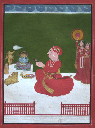 Seated raja in red on a terrace with idols. Indian miniature painting.