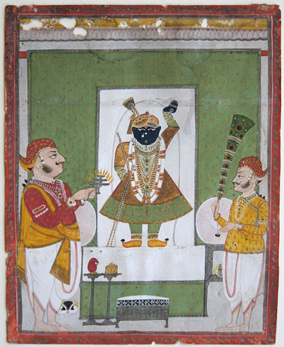Rajput, Rajasthani, Udaipur: The God Shri Nathji in an Alcove with Devotees. Gouache, Indian miniature painting.