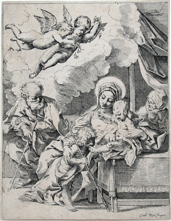 After Guido Reni: The Virgin and Child with St. John. Etching.