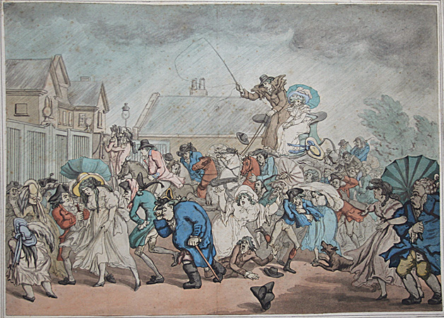 Thomas Rowlandson hand-colored etching and aquatint after Thomas Malton: A Sudden Squall in Hyde Park. 1791.