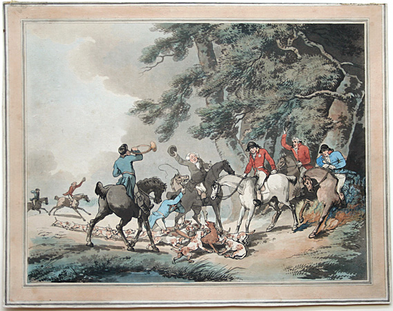 Thomas Rowlandson hand-colored etching: The Death of the Fox.