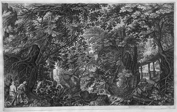 A Forest Scene With A Wooden Bridge