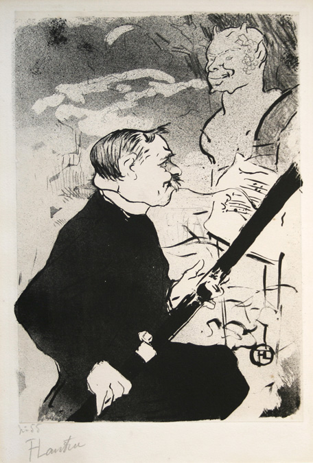 Henri de Toulouse-Lautrec lithograph: Pour Toi! (For You!). Desire Dihau with his bassoon. 1893.